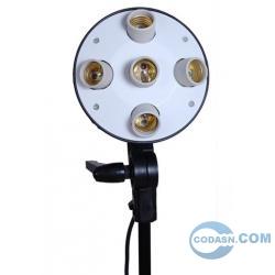 Photo Lamp Bulb Holder 5 x E27 Socket Umbrella Bracket